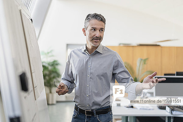 Confident mature male entrepreneur explaining strategy while standing by whiteboard in office