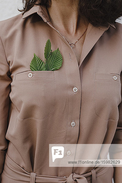Businesswoman wearing brown overalls with leaves in pocket