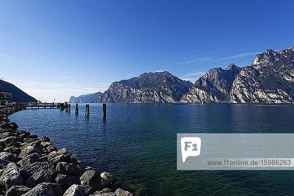 Italy  Trentino  Torbole  Lake Garda surrounded with mountains