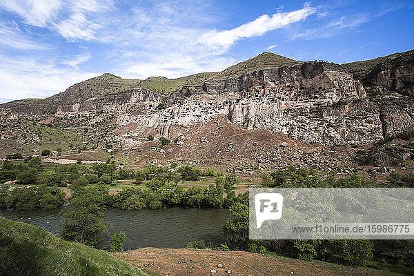 Georgia  Samtskhe-Javakheti  River in front of Vardzia cave monastery