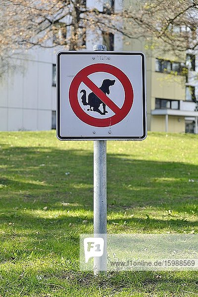 Prohibition sign  prohibition of dog excrement  dog poo  meadow of a housing estate  Munich  Bavaria  Germany  Europe