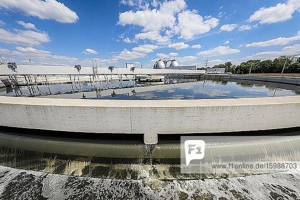 Abwasserreinigung im neuen Klärwerk Emschermündung KLEM  im Vorklärbecken der Kläranlage wird das Abwasser mechanisch gereinigt  hinten die Faultürme  Emscherumbau  Dinslaken  Ruhrgebiet  Nordrhein-Westfalen  Deutschland  Europa