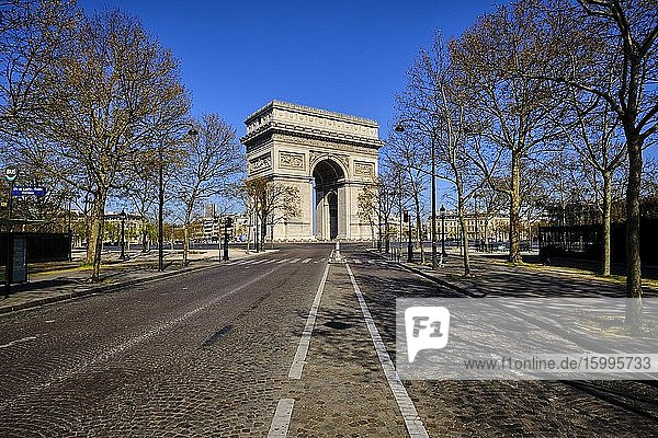 France  Paris  the Arc de Triomphe and the Place Charles de Gaulle-Etoile during the lockdown of Covid 19.