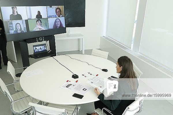 Queen Letizia of Spain attends a videoconference through sign language interpretation with four representatives of the CERMI Women Foundation who have conveyed their concern about the emergency  not only health but also social  that has caused the COVID19 crisis at Zarzuela Palace on May 29  2020 in Madrid  Spain