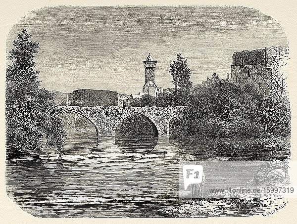 Bridge over the Orontes river in the old city of Hama. Syria  Syrian Arab Republic. Middle East  Old 19th century engraved illustration  Le Tour du Monde 1863.