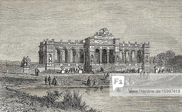 The Gloriette Schonbrunn castle  Austria Europe. Old 19th century engraved illustration  Le Tour du Monde 1863.