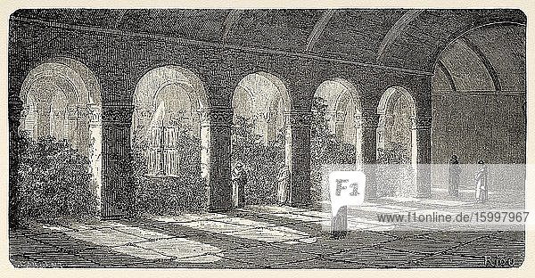 Church and Convent of Our Lady of Mercy. Convent of La Merced  baroque cloister  Cusco 19th Century. Peru  South America. Old 19th century engraved illustration  Le Tour du Monde 1863.
