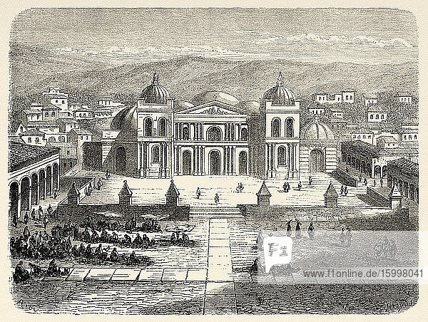 Square and cathedral of Cusco 19th Century. Peru  South America. Old 19th century engraved illustration  Le Tour du Monde 1863.