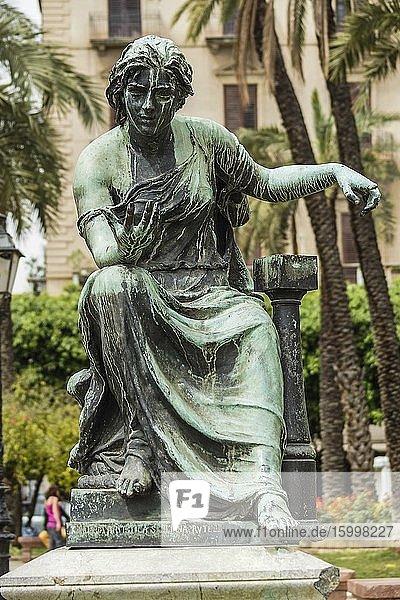 Bronze statue of Nautica by Mario Rutelli. Piazza Castelnuovo (aka Piazza Politeama)  Palermo  Sicily  Italy  Europe.
