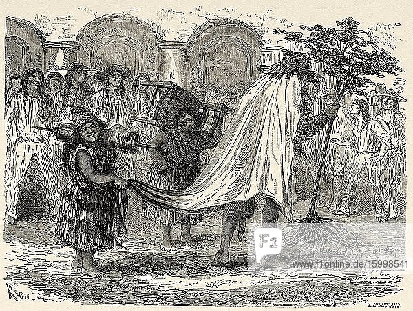 Peruvian characters in the traditional and typical carnival parade in Cusco 19th Century. Peru  South America. Old 19th century engraved illustration  Le Tour du Monde 1863.