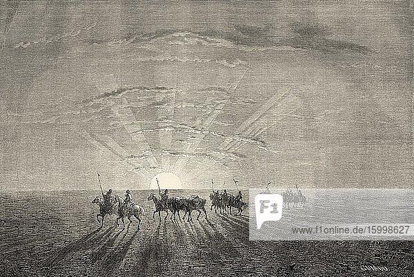 Riders on horseback at sunset in the Mongolian desert  Mongolia  Central Asia. Old 19th century engraved illustration  Le Tour du Monde 1863.