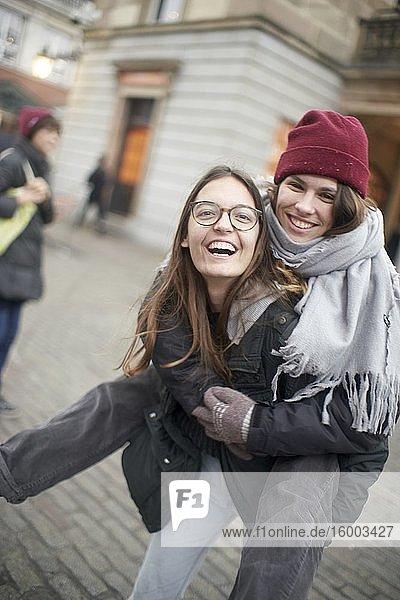 Happy women in London  Great Britain.