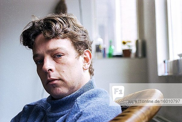 Tilburg  Netherlands. Casual living room portrait of a young adult  caucasian male  recuperating from a huge depression. Shot on Analog Color Film in 1997.