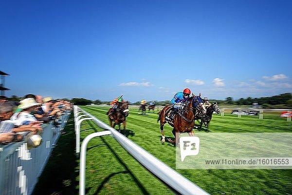 Jockey on racehorse  horse racing  Iffezheim  Germany  Europe