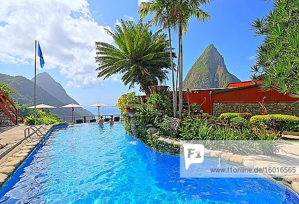 Ladera Resort's swimming pool with views of the two Pitons  Gros Piton 770m and Petit Piton 743m  Soufriere  St. Lucia  Lesser Antilles  West Indies  Caribbean Islands