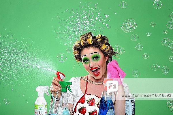 Young woman doing housework  Corona series  Germany  Europe