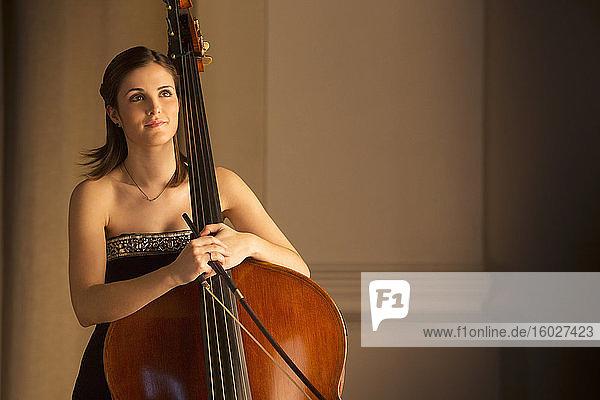 Portrait of double bassist