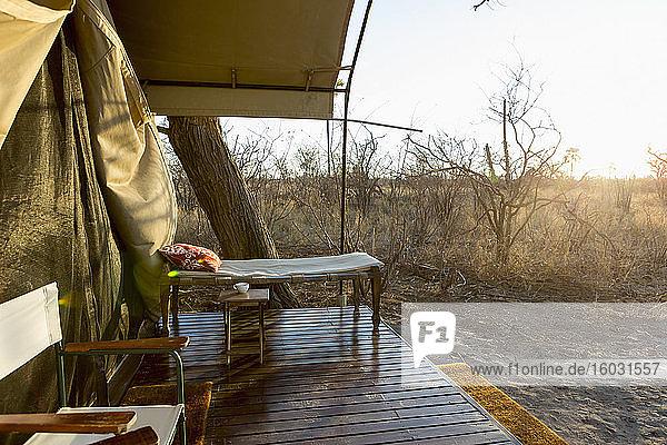 Zeltlager in der Kalahari-Wüste  Tagesanbruch