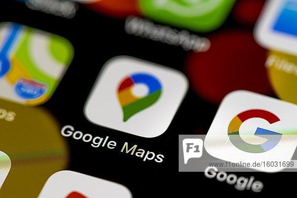 Google Maps Icon  App Icons auf einem Handy Display  iPhone  Smartphone  Nahaufnahme
