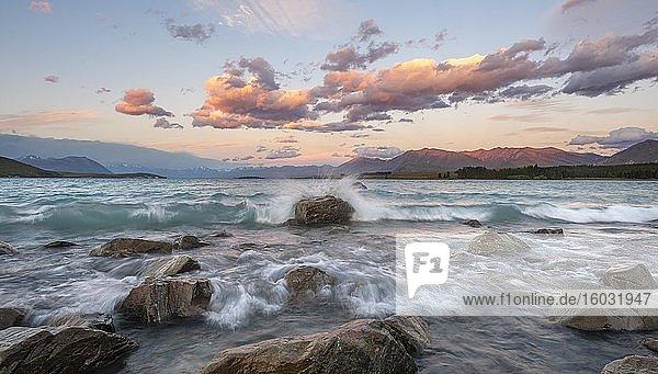 Steine am Ufer  See mit Wellengang bei Sonnenuntergang  Langzeitbelichtung  Lake Tekapo  Canterbury  Südinsel  Neuseeland  Ozeanien