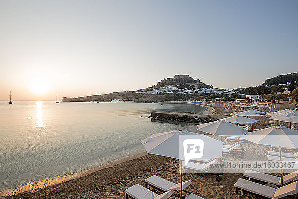 View over Lindos beach at sunrise  Lindos  Rhodes  Dodecanese  Greek Islands  Greece  Europe