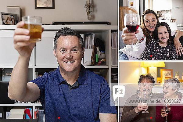 Familie mit Online-Geburtstagsfeier während des Coronavirus-Sperrens  mit Getränkeausschank und Toast.