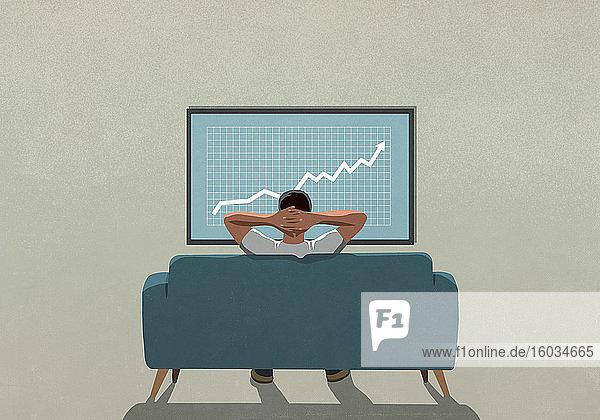 Mann auf Sofa beobachtet steigende Börsendaten im Fernsehen