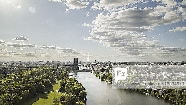 Sunny  scenic Berlin cityscape and Spree River  Germany