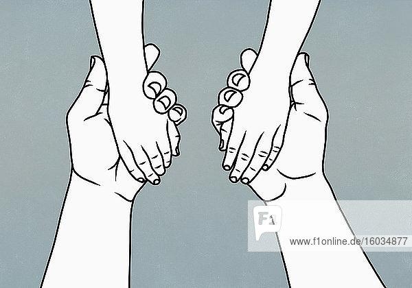 Vater hält mit Kind Händchen
