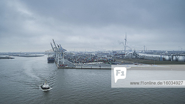 Scenic view Port of Hamburg commercial dock  Germany