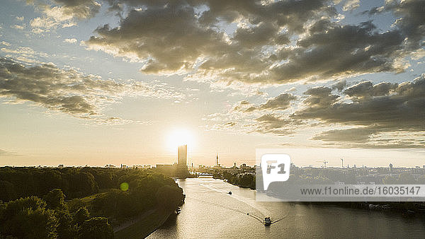 Sunset over Berlin and Spree River  Germany