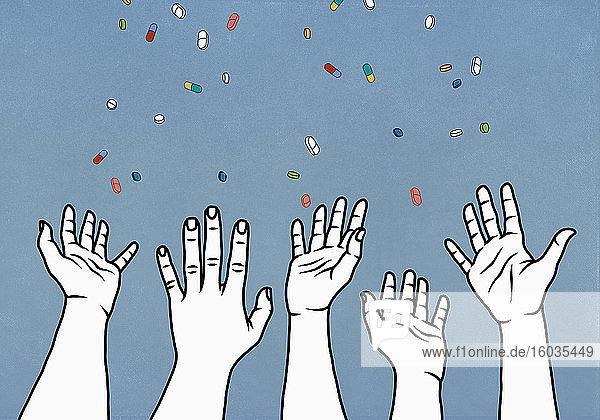 Hände  die nach fallenden verschreibungspflichtigen Medikamenten greifen