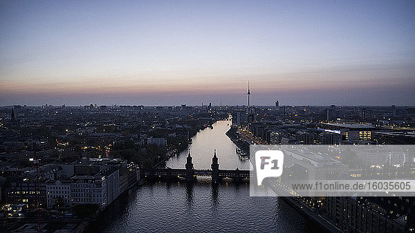 Scenic view Berlin and Spree River at twilight  Germany
