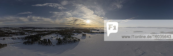 Scenic view sunset over snow covered landscape  Arjeplog  Lapland  Sweden