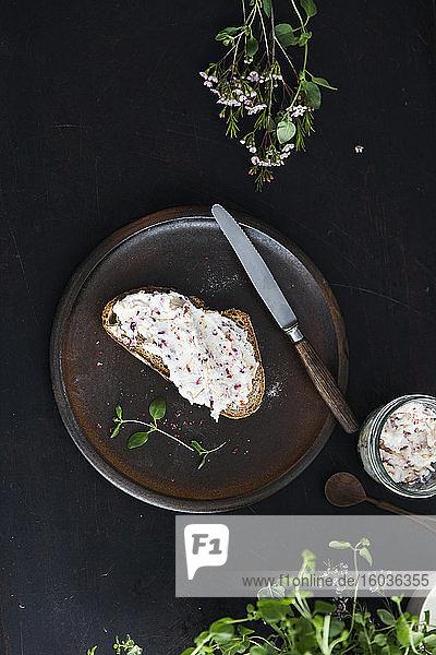 Herzhafter  veganer Sheabutter-Brotaufstrich mit Zwiebel und Apfel