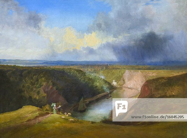The Avon Gorge from the Summit of the Observatory  Clifton  William West  circa 1834 .