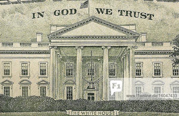 Nahaufnahme des US-Papiergesetzes mit dem Weissen Haus