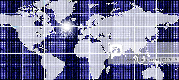Weltkarte mit Gitter und Sonne