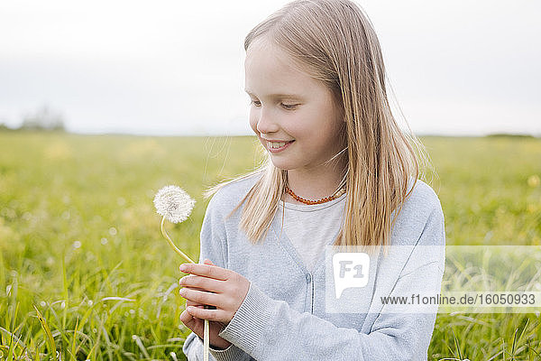 Portrait of smiling girl with dandelion