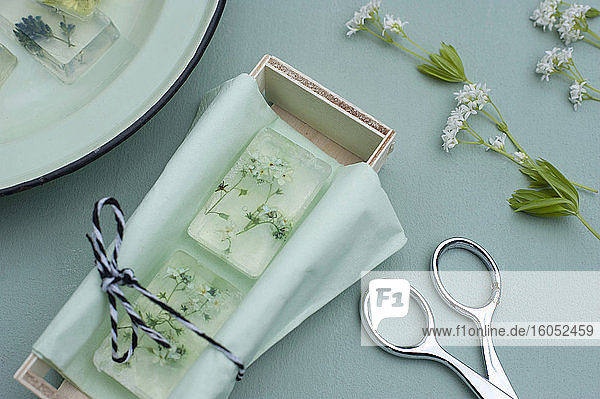 Various wildflowers cast in transparent bars of glycerine soaps