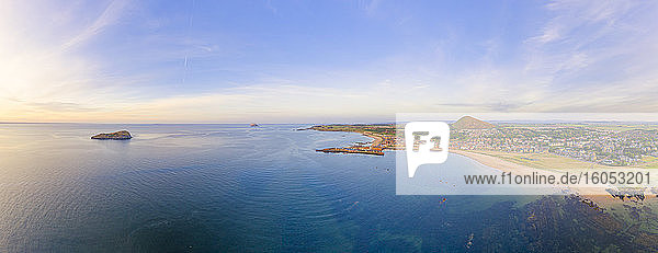 UK  Scotland  North Berwick  Drone view of Firth of Forth and coastal town in summer