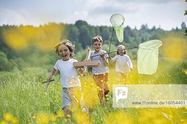 Unbekümmerte Freunde mit Modellflugzeug und Schmetterlingsnetzen laufen auf einer Wiese im Wald Unbekümmerte Freunde mit Modellflugzeug und Schmetterlingsnetzen laufen auf einer Wiese im Wald