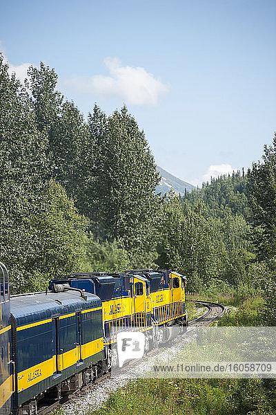 Person  die aus dem Fenster schaut  während sie mit dem Alaska-Eisenbahnzug auf dem Weg zum Denali-Nationalpark fährt.