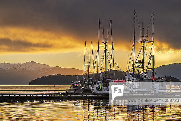 Commercial fishing boats in Auke Bay at sunset  Southeast Alaska; Juneau  Alaska  United States of America