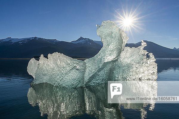 Eisberg und Sonnenschein in Tracy Arm  Tongass National Forest  Südost-Alaska; Alaska  Vereinigte Staaten von Amerika