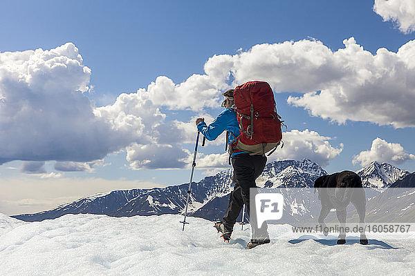Frau und ihr Hund mit Rucksack auf dem Kennicott Glacier  Wrangell Mountains  Wrangell-St.-Elias-Nationalpark  Süd-Zentral-Alaska; Alaska  Vereinigte Staaten von Amerika