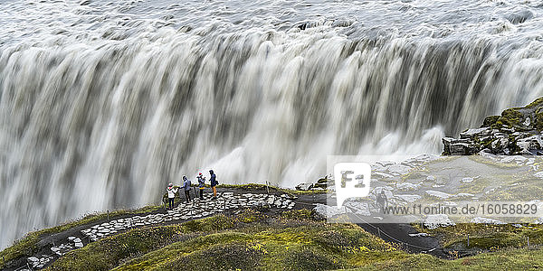 Dettifoss waterfall  in Vatnajokull National Park  is reputed to be the second most powerful waterfall in Europe after the Rhine Falls; Nordurthing  Northeastern Region  Iceland