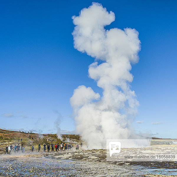 Geysir  or also known as 'the great geysir'  was the first geyser described in a printed source and the first known to modern Europeans; Blaskogabyggo  Southern Region  Iceland