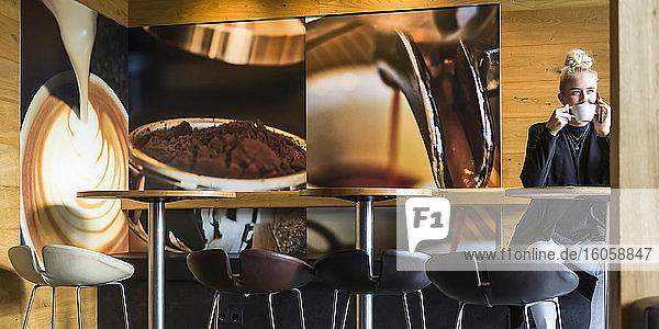 Eine junge Frau sitzt in einem Café und trinkt Kaffee  während sie telefoniert; Reykjavik  Island