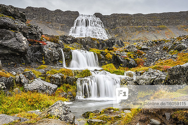 Dynjandi (also known as Fjallfoss) is a series of waterfalls located in the Westfjords  Iceland. The waterfalls have a total height of 100 metres; Isafjaroarbaer  Westfjords  Iceland